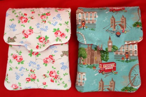 Cath Kidston Kindle cases made by me :o) Made to order and also for sale on Ebay. I love that London Scene one, I was going to keep that for myself but it sold yesterday! I'm personalising them now with embroidered name labels. This one will have 'Stephanie' on the flap and is going to Hong Kong to live :o) I'll post an updated picture with the name label when its finished. The other case is Cath Kidston 'Birds' fabric that is now  discontinued, but I have lots of it :o) These cases fit all the Kindle models. They are £15, or £20 with an embroidered name label.