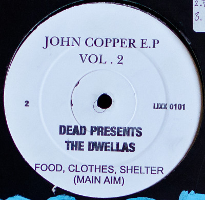 "Va - John Copper E.P. Vol. 2 (12"") Label: Not On LabelCat#: LIXX 0101HipHop, USA, 1997(?)Discogs Note: This is some bootleg white-label business, pretty common back in the mid/late 90s. Lots of spelling errors and confusing labeling lol. A-side has Alkaholiks & ODB with Hip Hop Drunkies (I'll Have A Brandy Mix). B-side starts off with Dead Presidents with the tune Food, Clothes, Shelter, which was the reason I got this 12"" as that song was hella rare (and good). That The (Cella) Dwellas has the last tune on there, a Nick Wiz production called called Main Aim, wasn't a bad thing either though."