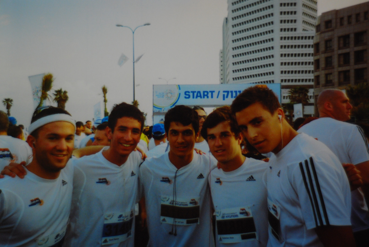 April 8. GPOYW - Myself, Ayal, Yossi, Nick, and Louie at the start line of the Tel Aviv (Half) Marathon.