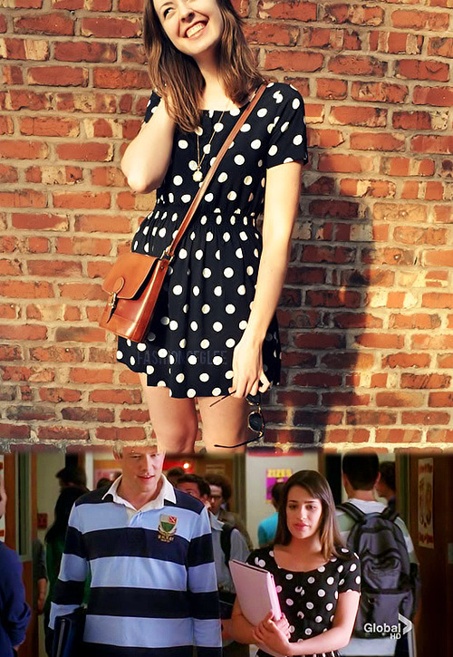 fashionofglee:  H&M Polka Dot Dress - Unknown Info source: Dana @ Possessionista Photo source: Eliza @ Mess Your Hair Up  You guys! My friend and coworker has this dress! She wore it to our royal wedding celebration at work! Click here to see her wearing it in one of my GPOYs