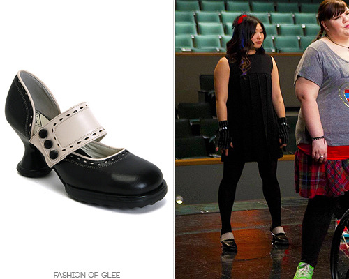 Tina turns in her Dr. Martens for a new pair of Vogs! Fluevog Zaza Heels - $249.00 Also worn in: 2x01 'Audition', 2x04 'Duets', 2x05 'The Rocky Horror Glee Show', 2x10 'A Very Glee Christmas', 2x11 'The Sue Sylvester Shuffle', 2x13 'Comeback', 2x19 'Rumours' 3x03 'Asian F'