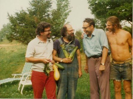 suitableforvegans:  Allen DeLoach, Allen Ginsberg, Carl Solomon and Peter Orlovsky, Cherry Valley, August 1973. Photographer is unknown.