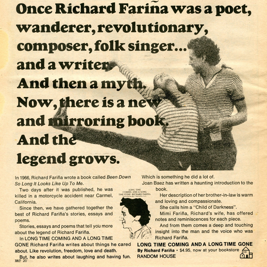 Random House ad for Long Time Coming and a Long Time Gone by Richard Fariña.