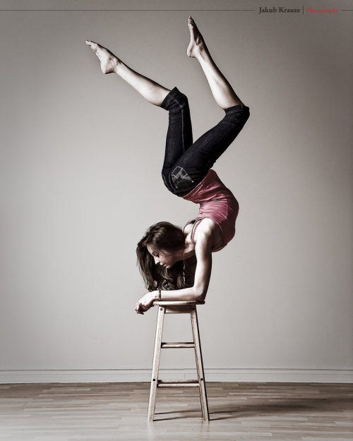 fuckyeahyoga:  just forearm chillin on a stool… .