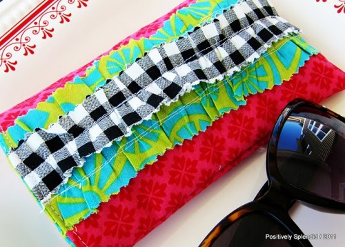 Make your sunglasses a pretty ruffled case to keep them in get the tutorial via {Positively Splendid}