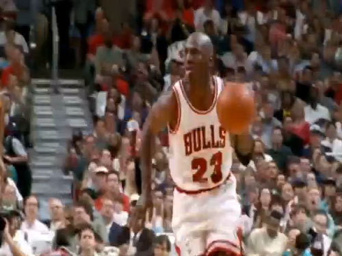 Michael Jordan passes to Derrick Rose Gif (click photo to animate)