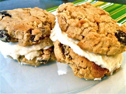 Homemade Oatmeal Cream Pies I used to LOVE Little Debbie's Oatmeal Creme Pies, but these are better. This recipe is courtesy of G. Rich. Although, for the sake of full disclosure, I used a different recipe for the cookies since I was lacking in some of the ingredients. They were still delish. Cookie Ingredients (makes 3 dozen cookies or 18 pies) 1 1/4 cups butter, softened  1 cup firmly packed, dark brown sugar  1/2 cup granulated sugar 1 1/2 large egg 1 tablespoon molasses 2 teaspoons vanilla extract  1 1/2 cups all-purpose flour 1 teaspoon baking soda  1/2 teaspoon salt 1/4 teaspoon ground cinnamon  3 cups uncooked quick-cooking oats Cookie Preparation Preheat oven to 375°. Beat butter and sugars at medium speed with an electric mixer until creamy. Add eggs, vanilla, and molasses, beating well. Lightly spoon flour into dry measuring cups, and level with a knife.  Combine flour and next 3 ingredients in a bowl, stirring well. Add oats;  stir well. Add to butter mixture; stir until well blended. Drop by  rounded tablespoons 2 inches apart onto baking sheets lined with  parchment paper. Bake at 375° for 9-10 minutes. Cool on pan 2 to 3  minutes. Remove cookies from pan; cool on wire racks. Cream Filling Ingredients (makes 1.5 cups) 1/2 cup butter, softened 2 cups powdered sugar 1 to 2 tablespoons whipping cream 1 teaspoon vanilla extract Cream Filling Preparation Combine all ingredients in a medium bowl. Beat with an electric mixer  on low speed until combined, scraping bowl. Beat on high until light and  fluffy.  Lastly, spread about a tablespoon of cream filling on flat side of one cookie, press 2nd cookie on top.