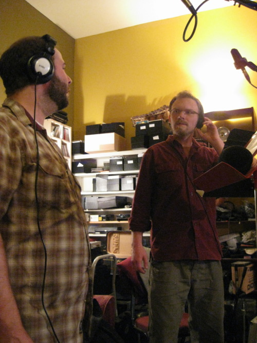 Cody and Jeremy recording a 'mad harmony'
