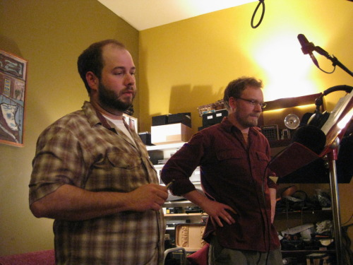 Cody and Jeremy listening to the recording
