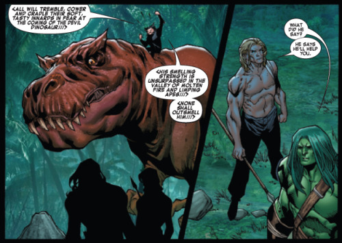 Two panels from SKAAR: KING OF THE SAVAGE LAND #3 by Rob Williams & Brian Ching. I would VERY MUCH like a Devil Dinosaur & Moon Boy series written by Rob Williams. Moon Boy!