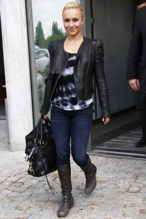 Hayden Panettiere wore her Hudson Collin Signature Skinny jeans while leaving her hotel in Berlin last week.