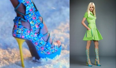 nicki minaj's lace up graphic versace heels on super bass