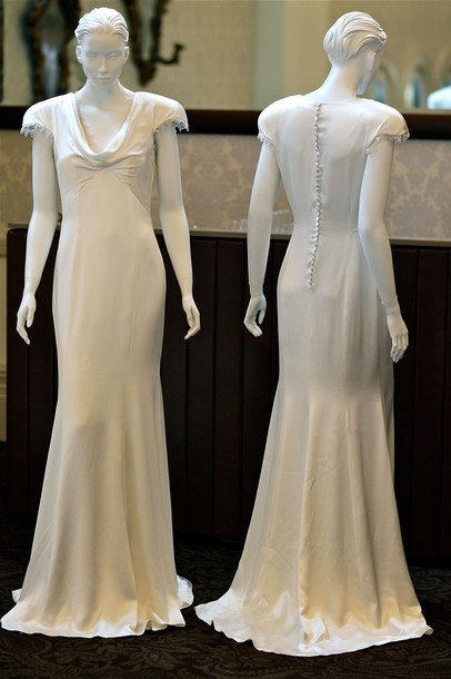 A replica of Pippa Middleton's bridesmaid dress on display  in Sydney, Australia. (PHOTO: Getty Images)