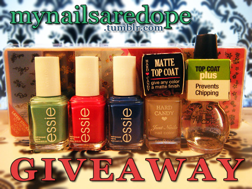 mynailsaredope:  mynailsaredope's first giveaway! To celebrate my nail blog reaching 400+ followers & as an appreciation to all of my followers, here is my first giveaway!!! It isn't much, but something is always better than nothing at all. Enjoy & Goodluck! ITEMS INCLUDED:— Essie's Turquoise & Caicos— Essie's Watermelon— Essie's Mezmerised— Hard Candy's Matte-ly In Love— Nicole by OPI's Top Coat— Two packs (7 sheets total) of Kiss Nail Stickers  FOR A CHANCE TO WIN:——- Must be following me (mynailsaredope). I will check.— Like this post. (One Entry)— Reblog this post. (One Entry) THIS GIVEAWAY IS OPEN INTERNATIONALLY. .. In order for me to select the winner, I will be using random.org. Contest ends May 25th. The winner will be notified that night via ask box, so keep yours open! If I don't receive a response in two days, I will select a new winner.     How sweet is that! Thank you so much! :)