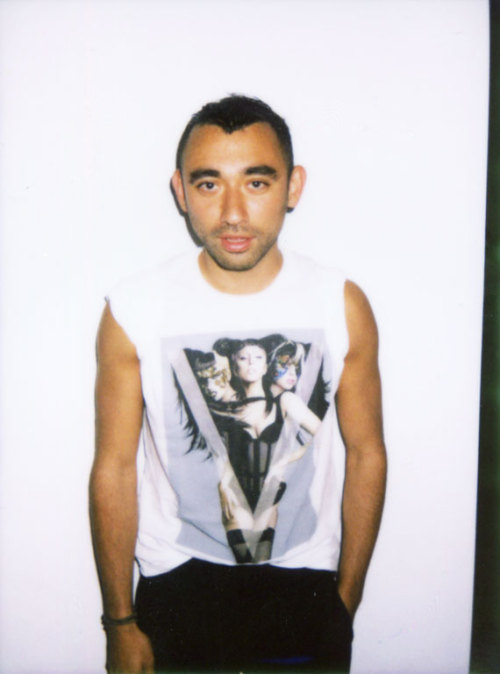 v-magazine:  Nicola Formichetti came by the V Office to try on one of the LIMITED EDITION V71 LADY GAGA T-SHIRTS, starring LADY GAGA in MUGLER. CLICK HERE TO ORDER YOURS with a hardbound Special Edition of V71 The Asian Issue. On stands today! Polaroid by Patrik Sandberg.