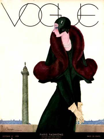 Vogue Cover - Georges Lepape, from memory (I'll check - many of the most stunning Vogue covers are by Lepape).
