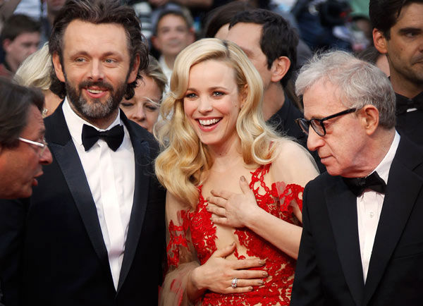 ontheredcarpet:  Actors Michael Sheen, Rachel McAdams and director Woody Allen at the Cannes Film Festival 2011.  even when he's coming out with a new movie and going to the premiere in Cannes, he still looks sad…that's why i love him…