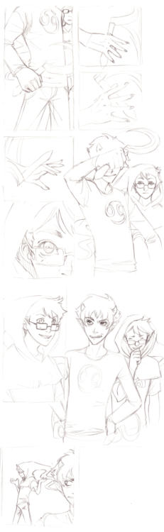 Karkat and John, rough outline for a comic. I love these two to death.