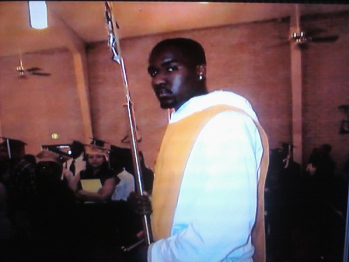 Kendrick Perkins makes a very nice altar boy. Look how happy he is.
