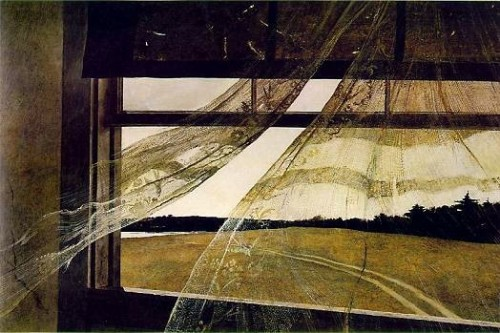 justsurfacesurface: 1948 Andrew Wyeth (American 1917-2009) ~ The Wind from the Sea