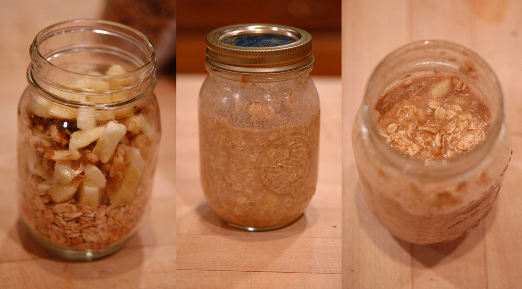 yackattack:  Banana Nut Overnight Oatmeal! This overnight oatmeal turned out delicious, and tasting almost exactly like banana nut bread. The portion is a little big but I stayed full for a few hours which is great! Ingredients: 1 Cup Rolled Oats 1 Medium sized Banana (chopped) 1/8-1/4 Cup of Walnuts (chopped) 1 tsp. Cinnamon 1 tsp. Agave Nectar 1 tsp. Vanilla 1/2-3/4 Cup of Unsweetened Non-dairy Milk Instructions: Mix all ingredients in bowl/jar and shake/stir thoroughly until all is mixed evenly. Leave in refrigerator overnight (or a couple of hours), and either enjoy cold or warm up and then eat!