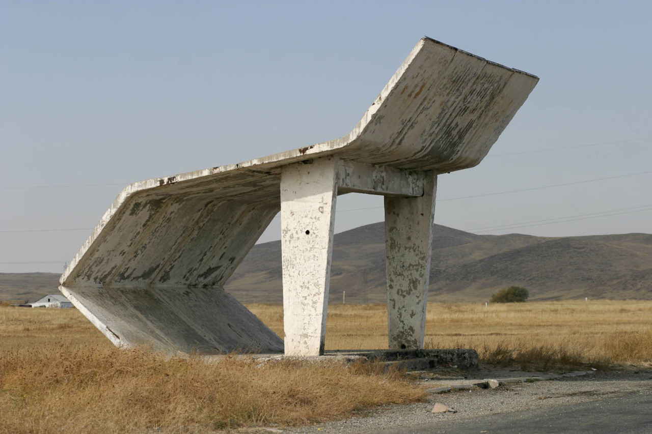 West of Taraz, Kazakhstan, The Soviet Roadside Bus-stop, Christopher Herwig