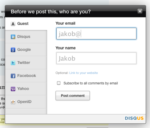 Disqus - The signup form guesses your name based on the first part of your email address as you type. /via Jakobs