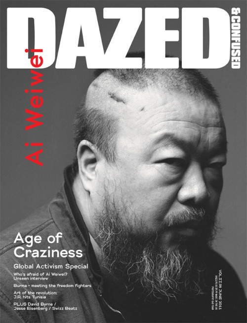 DAZED & CONFUSED MAGAZINE | JUNE 2011 'AGE OF CRAZINESS'June's Global Activism Special concentrates on the struggle for freedom around the world, featuring missing Chinese artist and social critic Ai Weiwei on the cover, and publishing one of his last interviews before he was detained by the government. The magazine also spends a few days with the underground resistance fighters of Burma's brutal dictatorship, hears street artist JR's account of his art revolution in Tunisia, and profiles some of the Middle East's young activists fighting for a new tomorrow. The June issue also features interviews with Jesse Eisenberg, David Byrne, Swizz Beatz and Dan Budnick. (via)