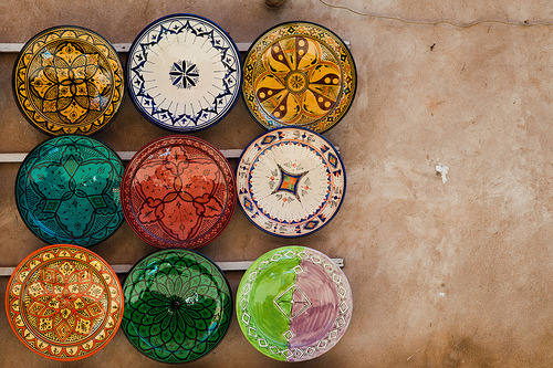 alicepracti:  Colors of Marrakesh project 2011 (by ronald groenendijk) my favorite is the very bottom left gold and orange plate.