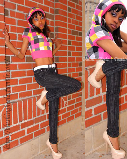 "Title: Nude ChecksDate: April 22, 2011 Occasion: Photoshoot Skinny Jeans by YMI for $25.99Nude Patent Leather Platform Pumps by Glaze for $22.99Multi-Colored Pink Checkered Cropped Hooded Top - got from a family member so I don't know the price.Silver Hoop 3 Tiered Chandler Earrings for $2.99Gold bracelets - don't remember price.Silver ""Diamond"" Butterfly Necklace for $7.99"