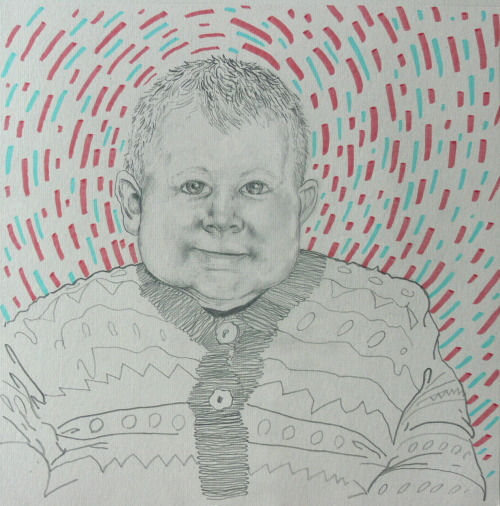 Palmar Hallgrimsson needed a drawing of his grandchild. Pencil, marker 12x12 in