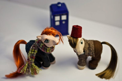 boom-swagger:  doctor who and amy pond custom my little ponies. these are real and available for purchase. click through for the etsy listing.