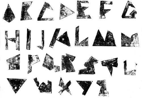 This is a font I have created, I have printed it with a printing press my Grandad made me, although it isn't very clear as I didn't use any felt so its come out a bit grainy. I have been told the font looks like it belongs to the 2012 Olympics which doesn't bother me so much as I really like the designs and advertising for it. Its called KISS which is short for keep it simple stupid I didn't want to create something over complicated I wanted it to be accessible to everyone so its more of a puzzle alphabet by piecing letters together where they fit and look like the appropriate letter. I had a lot of fun making this piece and it will be the center point to my degree show as I will be doing live printing or embossing sessions with it.
