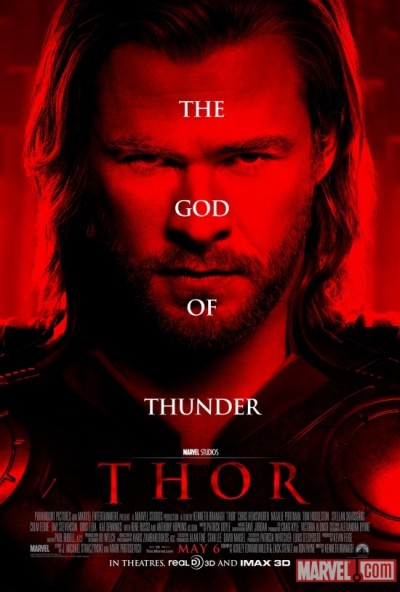 """Thor""Written by Ashley Edward Miller & Zack Stentz and Don Payne, based on the comic book by Stan Lee, Larry Leiber and Jack Kirby; Directed by Kenneth Branagh; Stars: Chris Hemsworth, Natalie Portman, Tom Hiddleston, Stellen Skarsgard, Kat Dennings and Anthony Hopkins. Story: The powerful but arrogant warrior Thor is cast out of the fantastic realm of Asgard and sent to live amongst humans on Earth, where he soon becomes one of their finest defenders.. Seen by Adam and Lars, May 7, 2011 LARS: When they announced that they were making ""Thor"", I honestly thought Marvel had gone mad. Thor was never a huge mainstream comic book character, and I was wondering why in god's name they wouldn't focus on some of the more relatable characters in the Marvel universe. Because, frankly, the Marvel version of Thor is a silly character. The Norse mythology that he is drawn from has great stories like any quasi-religious scripture that has been handed down over generations is bound to have. It's a universe populated with various archetypes, and it functions great, when you keep the stories in that world, as a multitude of Scandinavian comic books and stories have done over the centuries. It's when you take the Norse God of Thunder out of his own world and bring him to contemporary America that it all goes a bit silly.That said, ""Thor"" is an entertaining entry into the superhero film catalog, as long as you don't think too hard about it. Even a stray thought may make the whole house of cards collapse into a puddle of utter nonsense.First the good: Kenneth Branagh directs ""Thor"" as if the material were much more worthy stuff. Arguing gods are treated with Shakespearean dignity and the camp factor, which, given the setting and the clothing could have been through the roof, is nowhere to be seen. I dread to think what a lesser director would have made of this script. The Australian beefcake Chris Hemsworth, who plays Thor, certainly looks the part. I couldn't tell you whether he can act based on this film, but, again, at least he plays it straight and doesn't wink at the audience. His romance with Natalie Portman is about as believable as the rest of the story, which is to say, not very. But since they are both hot, I guess that in Hollywood, there's be no way they would be capable of not tearing off each other clothes. Not that they do that, this is a movie for kids! If you want adult behavior in a quasi-medieval setting, you'd be better off watching ""Game of Thrones"" on HBO. Anthony Hopkins does his usual 'scowling for money' that goes for acting for him these days. The nice surprise in the acting department is the British TV actor, Tom Hiddleston, who does a fine job brining personality to Loki, Thor's evil brother. He goes from megalomania to groveling in a heartbeat and comes across as someone who'd do anything, as long as he sees an angle in it. Idris Alba from ""The Wire"" fame does OK bringing Heimdal, an impossible character to play, to life as well. As was the case in Peter Jackson's ""The Lovely Bones"", so it is in this movie: Directors born in the early 60s were exposed to way too many prog-rock album covers in their teen years, and it has colored their taste. And not for the better. Jackson's afterlife looked silly at best in 'Bones"" and Asgard (yes, kinda pronounced 'ass guard'), the home country of the Norse gods in ""Thor"" looks like somebody browsed thru their 1970's LP collection and got stuck right around Styx. But I am probably over thinking things here. While I was watching ""Thor"", I was entertained and not bored at any point. And isn't that really all you can ask of these movies? That they transport you for a few hours. I mean, it's not like we ever thought they were going to be art, is it? ADAM: I'll remind you (as I'm sure I've mentioned) I'm not the biggest super hero fan in the world; I was never a big comic book collector or reader; The extent of my understanding of the myth and lore of these larger than life figures does not extend beyond a rudimentary knowledge gathered from an occasional glimpse at a 25 cent book of yesteryear and the Saturday morning ""Superfriends"" and ""Justice League of America,"" cartoons I watched between ""Hong Kong Phooey"" and ""Land of the Lost.""  It's not surprising that I've liked almost none of the superhero movies released in the last ten years.  Beyond Chris Nolan's Batman films, that I admire far more for their mood and storytelling, I find most superhero movies unbelievably forgettable and interchangeable.    Flawed hero (from this planet or other) with daddy or parent issues, tainted by some accident or experiment gone wrong, decides to save public while defending self and is constantly pursued by authorities, who question said hero's motives.  Superman? Daredevil? Hulk? Spiderman? Iron Man, even Batman could have that generic description fit fairly well.  But I'm in the minority; people eat this stuff up, and whether repetitive or not, it's two hours of escapism that's entertaining enough to keep the cameras rolling. And while the rolling cameras produce sequel after sequel, it's quite amazing that we actually have new, fertile superhero ground in which to dig; three original superchestnuts hatch this summer: The Green Lantern, which looks like as if it will appeal to kids more than the others, Captain America, which just happens to be my favorite superhero, and will probably be the biggest bomb in the trifecta, and Thor, a movie about a Norse God with a magical hammer; on the surface seemingly least likely to have ever been made in to a film, much less attract a crowd.  Having seen Thor, I can say that of the non Chris Nolan superhero films, this might be my favorite.  I can't really put my finger on why.  It may be that while the story seems relatively familiar, the action(well choreographed and shot) kept it flowing.  It may be that this film assembled a fantastic cast: Two oscar winners, Anthony Hopkins and Natalie Portman in a superhero movie?  That's a win.  Surround them with Peter Skarsgaard, Kat Dennings and newcomer Chris Hemsworth, who as Thor holds his own  and that's a nice nucleus.  And the big win might be that it's all held together quite nicely by Oscar nominated director Kenneth Branagh, who counts this as his fourteenth film behind the camera, and by far the most expensive and complex.The first half hour unravels two stories, one on Earth, about the scientist Portman plays finally finding some meaning to her study and research into the sky and weather patterns, but learning it's not the most important thing and one in the mythical Norse heavens, where Thor is anxious to assume the throne and make his father the king proud of him, not knowing the king's pride in his son already exists. These two stories intersect when Thor is exiled for his erratic and dangerous behavior.  We soon learn that Thor's fate is being manipulated by someone else who is tired of living in young warrior's shadow and has designs on the crown.  A classic battle for power and the king's respect rages on, with a small town on Earth (Portman's) getting in the way.What I did enjoy about Thor, in addition to the action and performances were the choices made in regard to story development; while there's action an explosions, this isn't another movie about a hero forced to save the Earth from destruction; this is a story about character (as all good stories are), and about how Thor can save himself from destruction, redeem his previous relationships, forge new ones, and still manage to kick some serious ass in the process."