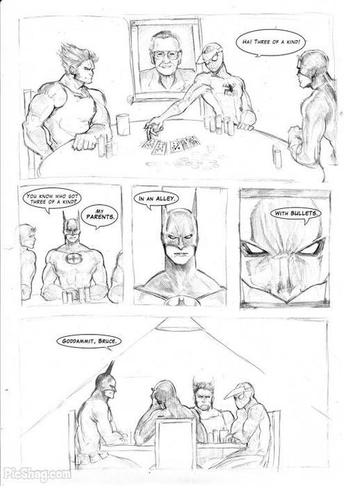 comicbadassery:  Spider-man must have the ultimate poker-face. Also, Batman can be a stick in the mud sometimes.  Why is Batman at a Marvel poker party in the first place?