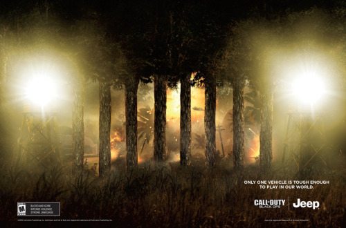 Client: Chrysler & Call of Duty Assignment: Jeep and Call of Duty collaboration - Print This was the first announcement from Jeep and COD. The strategy, ANNOUNCE THE COLLABORATION. Our idea was to take the iconic jeep grille and establish the war inside the game.  Associate Creative Director / Writer - Aubrey Walker III Art Director - Albert Loera