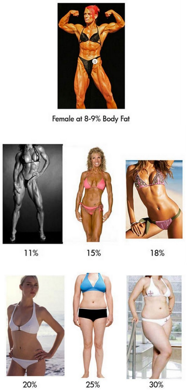 "What the female body looks like at different body fat percentages Wow take a look at that! Where do you stand? As you can see, as the levels of body fat begin to increase, loss of definition becomes more and more apparent. Don't take this too close to heart though, because 2 people with the same body fat percent can actually look totally different. See below:  Will 2 people with the same body fat % look the same? No. It isn't all about body fat percent, it's about lean muscle mass too. If these 2 women were the same height, let's say 5' 5"", I bet the girl on the left weighs around 118 and the one on the right, 95 lbs. How you build muscle (or not) will determine the your physique. Left girl obviously lifts weights and right girl does not, but the layer of fat from their muscle to skin is the same. Does this make sense? Body fat is just the thickness of the fat you have. Your overall shape is determined by your musculature. What's your body fat %?  Above is a great chart that matches up your body fat % with fitness level. The people in ""essential fat"" are usually Olympic athletes or serious fitness competitors. At this low of a body fat % women will lose their periods completely! I hear that most bikini models are around 14-15%, so that would put them in the ""athlete"" level. How to find your body fat percent? 1. Skinfold Measurement (Skin Pinch) 2. Bioelectrical impedance analysis (Handheld/Scale Deviced) 3. Dual energy X-ray absorptiometry (Dexa Scan) 4. Height and circumference methods (Measurement Collections) 5. Hydrostatic Testing (Underwater Density Test) The skin fold test is what I used to determine by body fat percent. You will need a personal trainer or someone who knows how to use calipers to do that for you because he or she will have to pinch your fat and measure the mm of fat thickness in 7 different areas, some of which you will not be able to reach for yourself, like your back.  I know a lot of you may not have access to calipers, a personal trainer, or a gym, so here's a quick and semi accurate way to see where you stand. This is #4, the height and circumference method - use this online calculator, a scale, and a measuring tape to see where you fall: http://www.active.com/fitness/calculators/bodyfat/ [Edit 7/20/2011: A lot of girls were telling me that they got bf%'s in the low 30s when they knew they were around the 20s. Thanks for the call out. For whatever reason that calc seems to be very off. Try this one instead? Although, this is not as accurate as a caliper measurement by a fitness professional!] http://www.bmi-calculator.net/body-fat-calculator/ Remember, this will not be completely accurate so proceed with caution! What am I?  In the picture above, I am 17.5% body fat and 118.4 lbs. I'm 5'5"". Finding a balance… Don't get too sucked in by the numbers. What matters is how you look and feel at the end of the day. I know a lot of young girls just want to be 105 lbs and will do anything to get there. (I get so many emails about this…) But remember, if you want to get thin, take into consideration your health as a whole. Think of it as getting FIT not as getting skinny. I love that through my workouts, not only have I achieved a more toned body, but I also have gotten so much stronger! Some of us want the skinny actress look, others want bigger butts or bigger boobs, while a select few fancy looking like body builders on steroids (see 1st photo). Whatever it is you want, I encourage you to follow through with you goals as long as you feel strong and healthy doing it. Okay? Also, remember to be happy with the journey too. Because what happens when you get to your goal weight and you don't experience an instant burst of joy like you had always dreamed? Well, that's why you gotta embrace your healthy lifestyle. Keyword: lifestyle. It doesn't end when you reach your goal…it becomes your life. So love it now."