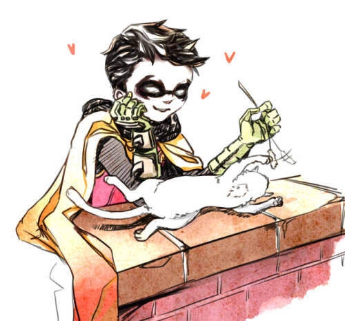 "augustusrex:  remmidemmi:  Damian with a kitten, as requested by zero <3 I don't even know what Damian has to do wiht cats, but there are pictures all over tumblr of them @_@"" Ich hoffe du magst es, broooo <3 Die Bioklausur morgen wird furchtbarrrr.  aaaaaaaaaaaaaaaaaaaaaaaa"