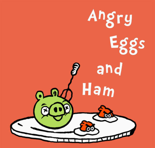 justinrampage:  The Green Pigs and Angry Birds get cooked up and put on shirts. To see Ivan's design come alive, head to Threadless and vote a five. Related Rampage:  The Empire Strikes Back (1950) Angry Eggs and Ham by Ivan Guerrero (Threadless) (Twitter)  Via: Threadless