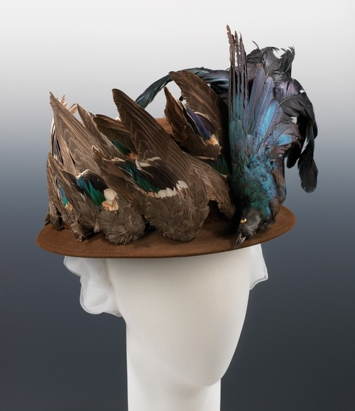 c. 1915 Another crazy bird hat The Met says: The beauty of bird plumage - and its usefulness for human adornment - has been recognized throughout the course of civilization. In the history of Western fashion, no period stand out more for the abundance and variety of feather trimmings than that beginning around 1860 and continuing to World War I. Feather merchants combed the globe to obtain beautiful and exotic plumes and skins, and common feathers were dyed, processed, clipped, and assembled to supply the demand for novel and attractive trimmings. In this hat from the climax of that period, Madame Pauline, a milliner located in Bedford-Stuyvesant area, makes a strong statement on the fascination with the use of birds and feathers. Not only is a full bird affixed to the front, but numerous bird wings are also applied all around to completely cover the sides of the crown. Growing public distaste and the resulting legislation combined with the trend for smaller and less ornate hats to eventually put a close on this chapter of fashion extravagance.