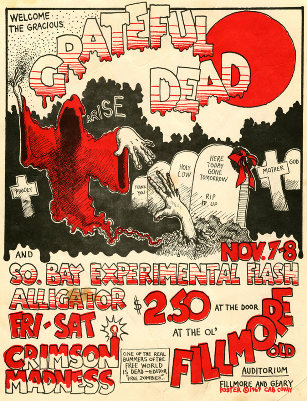 Grateful Dead, So. Bay Experimental Flash, Alligator November 7 & 8, 1969, Fillmore West