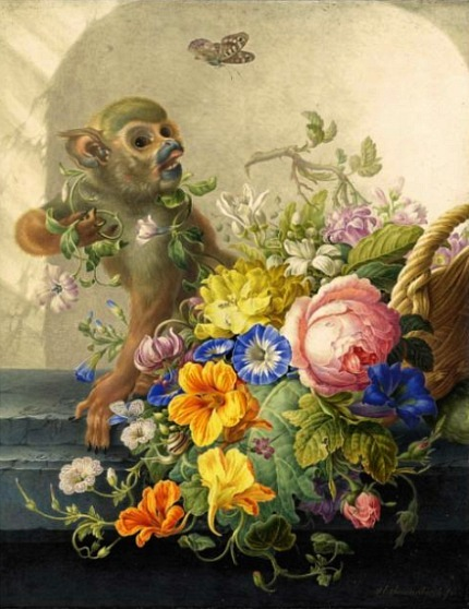 Herman Henstenburgh Still Life with Monkey and Basket of Flowers 18th century