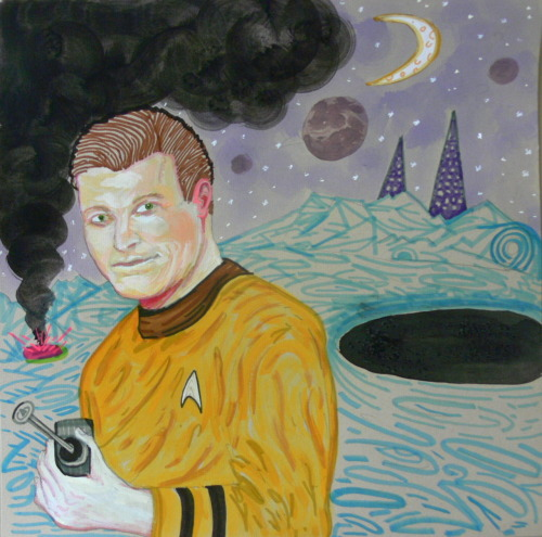 Jim Vendiola needed a drawing of Captain Kirk in a sci-fi landscape. Ink, gouache, marker 12x12 in