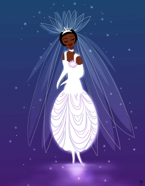 Concept for Tiana's wedding dress, by Sue Nichols