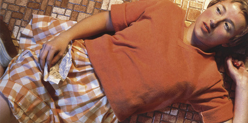 ckck:  Untitled #96 by Cindy Sherman, 1981. Now also known as the most expensive photo in the world after being sold at a Christie's auction in New York City yesterday for $3,890,500. The previous record holder was Andreas Gursky's 99 Cent II Diptychon, which sold for 3.35 million dollars at an auction in 2006.