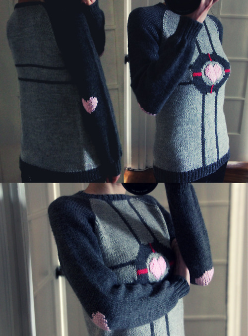Portal geekcraft of the day: This sexy ladies companion cube sweater Steamed length to sleeves. Ends all mostly weaved in. Underarm gaps sewn shut. Blocking done. Center heart duplicate stitched to add depth.  Total time to knit: 10 days.  Now let us never speak of this again. Made by monday Via