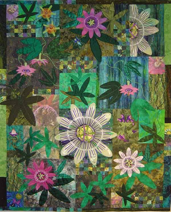 Passionflower Frenzy(116x146cm - 2003) MARIANNE MOHANDES I wanted to make a quilt that incorporated some photo imagery and used some machine embroidery techniques that I had learnt at college. The quilt was displayed at the National Patchwork Championships in 2003 and won 1st Advanced and 1st Embellishments awards. It was also included in an article which I wrote for patchwork and quilting magazine in 2004.