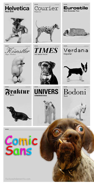 desireexelyda:  f***yeahdementia:   if fonts were dogs (original)    Perfect