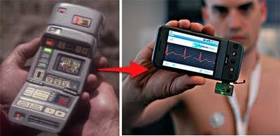 futuramb:  (via Xprize and Qualcomm will offer $10 million for the Tricorder Xprize) The Tricorder X PRIZE is a $10 million prize to develop a mobile solution that can diagnose patients better than or equal to a panel of board certified physicians. The X PRIZE Foundation and Qualcomm seeks to achieve this by combining advancements in expert systems and medical point of care data such as wireless sensors, advancements in medical imaging and microfluidics. It will be interesting to see what comes out of this. Especially since many of the components to really achieve this is available in myriads of small research projects, not to mention embedded in different apps.  Amazing. We wanted a Tricorder and got an iPhone. Give it time.