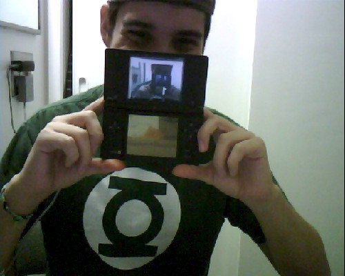My DSi looks so small compared to my face…also yay you can see a 1!